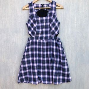 NWT Hot Topic plaid skater dress side cutouts S
